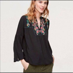 LOFT Black Floral Embroidered Blouse Size XSP